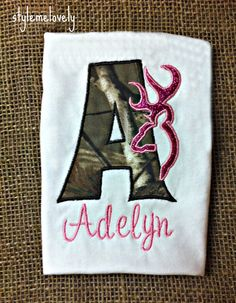 Browning Baby Girl Pink and Camo Monogram Shirt by StyleMeLovely00, $17.00