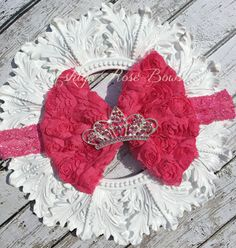 Hot Pink Rhinestone Crown Rosette Bow Headband by AshlynRoseBows