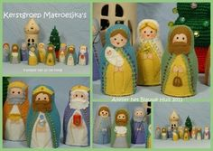 Patroonblad Kerstgroep Matroesjka`s