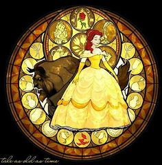 Kingdom Hearts stained glass -- (always loved it...even though they made Belle's hair red D:<)