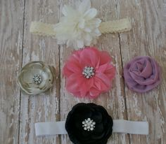 Ultimate FIVE Hair bow and headband package perfect by Ellasbows, $28.00