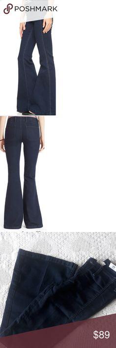 Jolen jeans High waist FP Jolen jeanse  Plenty of stretch to this fabulous jeanse  Dark blue color  New Inseam 34 Free People Jeans Flare & Wide Leg