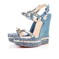 Designer Clothes, Shoes & Bags for Women Blue Wedge Sandals, Blue High Heels, Platform Wedge Sandals, Pump Shoes, Shoes Heels, Strappy Sandals, Summer Sandals, Christian Louboutin Heels, Louboutin Shoes