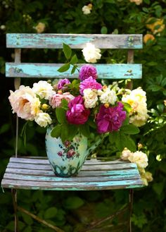 """for my front porch :)  The chair, the flower, the """"vase""""~"""