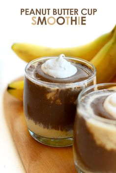 Healthy Gluten Free Peanut Butter Cup Smoothie - high protein and dairy-free!