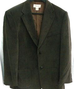 Pronto Uomo Mens XL Gray Brown Corduroy 2 Button Blazer Jacket Lined #ProntoUomo #TwoButton