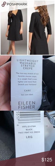 EILEEN FISHER TWIST FRONT CREPE DRESS SZ L NWT EILEEN FISHER TWIST FRONT CREPE DRESS SZ L  NEW WITH TAGS Eileen Fisher Dresses