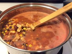 I made this today using some left over pork roast. You can adjust according to your own tastes. This soup will freeze well. Cooking time includes dry bean cooking. If using canned it should only take 20 minutes.