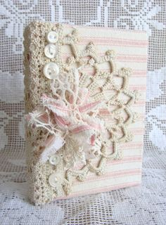 Vintage Lace and  Pink Ticking Journal Diary NoteBook Hard Back Small Pocket Journal