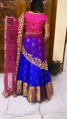Cutwork Blouse Designs, Kids Blouse Designs, Wedding Saree Blouse Designs, Pattu Saree Blouse Designs, Half Saree Designs, Kurti Designs Party Wear, Blouse Neck Designs, Half Saree Lehenga, Lehenga Saree Design