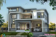 Unique flowing home design is part of House design - Contemporary style flowing (wavy) roof 4 bedroom house in 3064 square feet by R it designers, Kannur, Kerala Two Story House Design, Bungalow House Design, House Front Design, Cool House Designs, Modern House Design, Double Story House, Modern Exterior House Designs, Duplex Design, Architectural Design House Plans