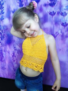 Yellow crochet halter top/ Open back yoga top/ Crochet toddler baby top/ 2T 3T 4T 5T crochet top/ Festival boho top/ Crochet lace crop top by ElenaVorobey on Etsy