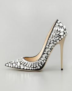 X1TXY Jimmy Choo Tia Pointy-Toe Jewel Pump