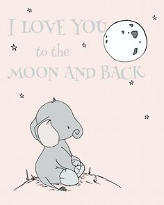 I Love You To The Moon And Back Nursery Wall Print - how sweet is this elephant wall art from @carrietomaschko's #sweetmelodydesigns?!