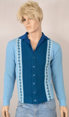 9a253145a0 Vintage 1960 s 70 s Men s Chevron Suede   Knit HiPPiE MOD Zippered Cardigan  Sweater Size L