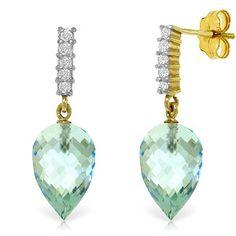 14K Solid Gold True Character Blue Topaz Earrings - 4806