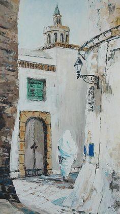 "Title: ""Mahdia, Tunisia"" /  Size: 70cmx40cm /  Technique: Impasto"