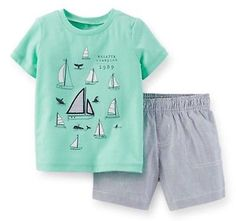 Carters-Baby-Boy-2-Pc-Tee-Hickory-Stripe-Short-Set3-6-9-12-18-24Months-Clothes