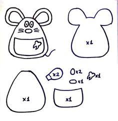 raton-perez-fieltro-diente-adoraideas Felt Ornaments Patterns, Felt Patterns, Felt Crafts, Fabric Crafts, Felt Keychain, Sewing Circles, Tooth Fairy Pillow, Felt Mouse, Felt Fabric