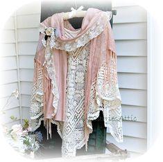 Shabby Chic  Shawl Vintage Laces Pink Cream Beige. $250.00, via Etsy.