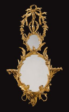 A George III giltwood girandole mirror circa 1765, in the manner of John Linnell - Sotheby's