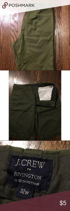 Men's J.Crew Rivington Shorts Men's J.Crew Rivington Shorts. Olive green, wore very few times. Missing fly button. J. Crew Shorts Flat Front