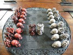 Skull Chess Set http://www.skullspiration.com/skull-chess-sets/