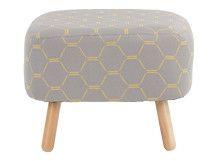 Jonah Footstool, Grey and Yellow Hexagonal Weave