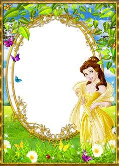 Princess Belle in the wooded meadow Cute Princess, Princess Belle, Borders For Paper, Borders And Frames, Scrapbook Da Disney, Bisous Gif, Disney Frames, Boarder Designs, Framed Wallpaper