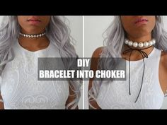 DIY ACCESSORIES | BRACELETS INTO PEARL & RHINESTONE WRAP CHOKERS - YouTube