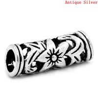 DoreenBeads European Style Cylinder Antique Silver Charm Beads Silver Plated Hollow Around 22mm x 8mm, Hole: about 5mm, 5 Unids
