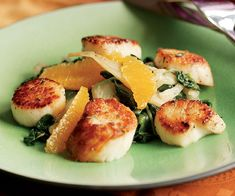 Seared Scallops with Wilted Fennel & Spinach Salad Recipe
