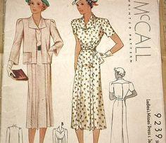 McCall 9239   ca. 1937 Ladies' & Misses' Dress & Jacket