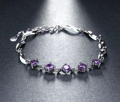 PURPLE  - dámsky náramok, osadený rakúskymi kamienkami, dĺžka: 20cm až 25cm Charmed, Bracelets, Silver, Jewelry, Jewlery, Jewerly, Schmuck, Jewels, Jewelery