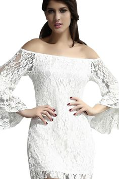 abaday Lace Flouncing Off-shoulder Dress - Fashion Clothing, Latest Street Fashion At Abaday.com