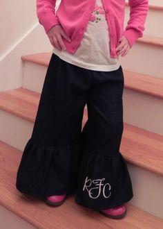 Girl's Dark Wash Soft Denim RUFFLE Pants by EllaClariseBoutique, $26.00