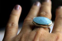 March Birthstone Aquamarine Ring Blue Aqua Handmade by meltemsem, $92.00