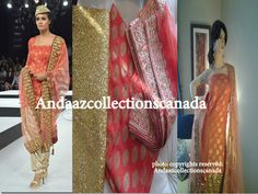 Peach Orange, Gold Patiala Heavy Sequence Work Salwar Inspired by Runway Fashion