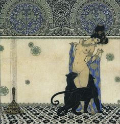Woman with Panthers, Helbing Ferenc, Hungarian graphic designer