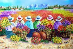 fotos fantasticas de paisajes - Buscar con Google Arte Latina, Mexican Artwork, Peruvian Art, Naive Art, Flower Market, Dot Painting, Pictures To Paint, Beautiful Paintings, Indian Art