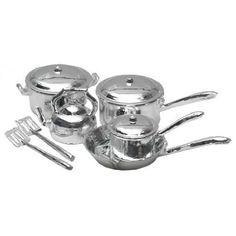 Dollhouse Miniature 10-Pc. Chrome Cookware Set Aztec Imports, Inc. http://www.amazon.com/dp/B003BQ2ATE/ref=cm_sw_r_pi_dp_ylkUub1984KY8