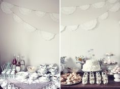 love the use of doilies for bunting. this site has lots of cute ideas.