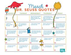 """Each day of the month, you'll find a new Dr. Seuss quote, surely to inspire your students to """"wonder and think."""" Download it!"""
