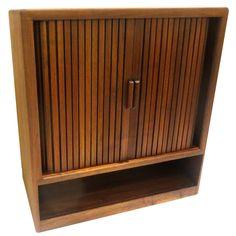 American Mid-Century Modern Solid Walnut Tambour Door Media Cabinet 1