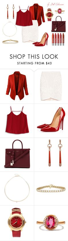 """""""Untitled #229"""" by iamgae on Polyvore featuring LE3NO, Hervé Léger, Chicwish, Christian Louboutin, Yves Saint Laurent, Gucci, Zoë Chicco, Versace and Clinique"""