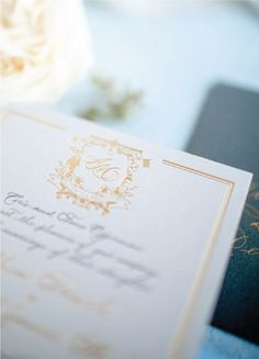 Gold foil stamping and grey letterpress on grey cardstock. Monogram with custom designed wedding crest. Spencerian traditional calligraphy. Custom wedding invitations designer - Leah E. Moss Designs, photo by Casey Brodley Foil Stamped Wedding Invitations, Letterpress Wedding Invitations, Watercolor Invitations, Elegant Invitations, Custom Invitations, Invitation Design, Wedding Stationery, Invites, First Wedding Anniversary Gift