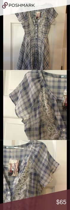 """🆕 Kimchi Blue check button down dress Polyester with rayon lining. Machine wash.  Underarm across 17"""". Length 30"""".  Brand new with tag.  Smoke free and pet free. Urban Outfitters Dresses"""