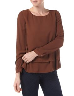 JAKES-COLLECTION Blusenshirt mit Saum im Double-Layer-Look
