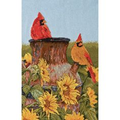 Cross Stitch Craze: Red Cardinals Cross Stitch with Sunflowers