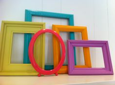 Frame Collage Funky Bright Home Decor Upcycled Vintage Frames Hollywood Regency Apartment Decor Quirky Decor. $39.00, via Etsy.